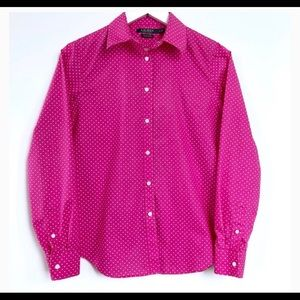 Lauren Ralph pink Polka Dot Button - up Shirt